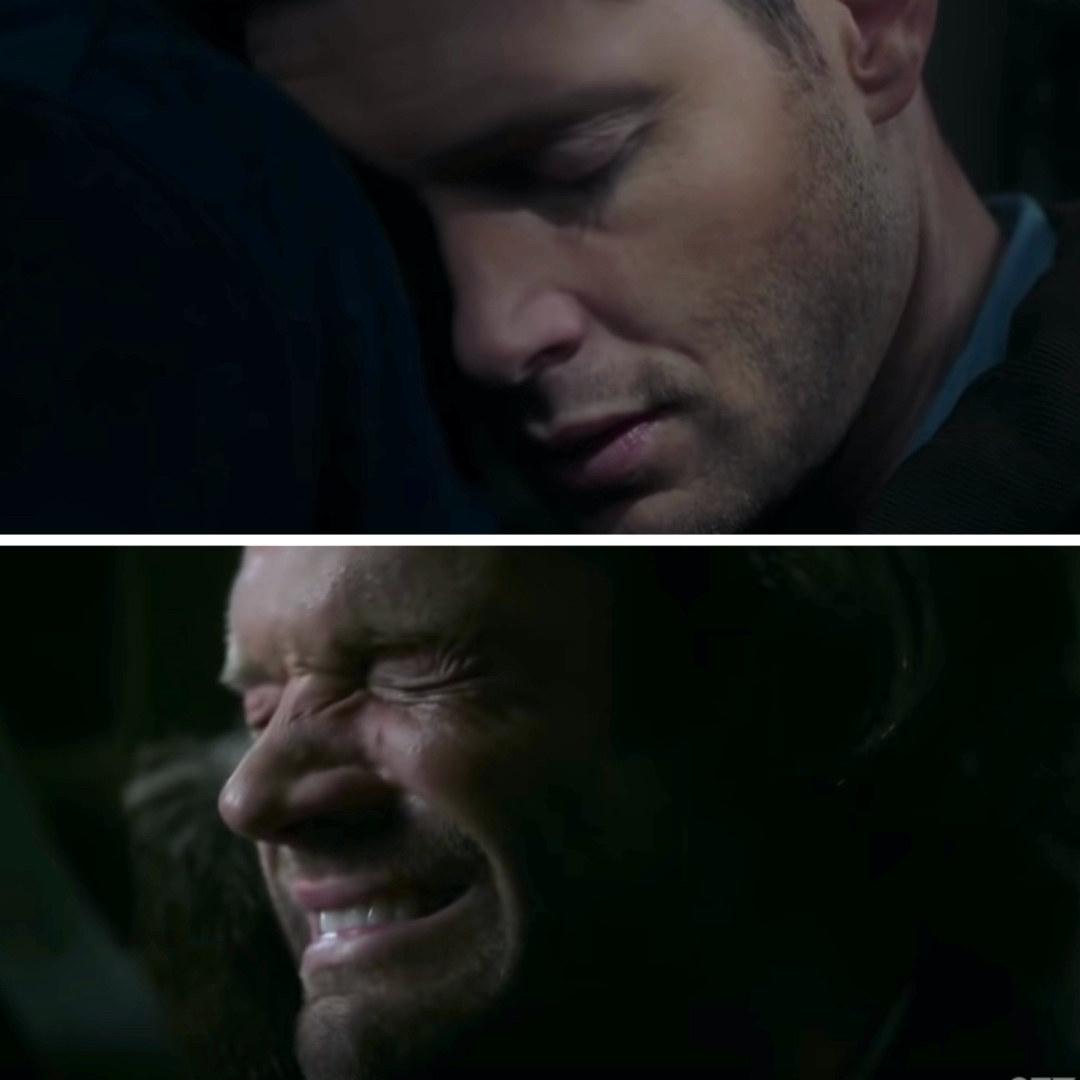 Sam crying as Dean dies