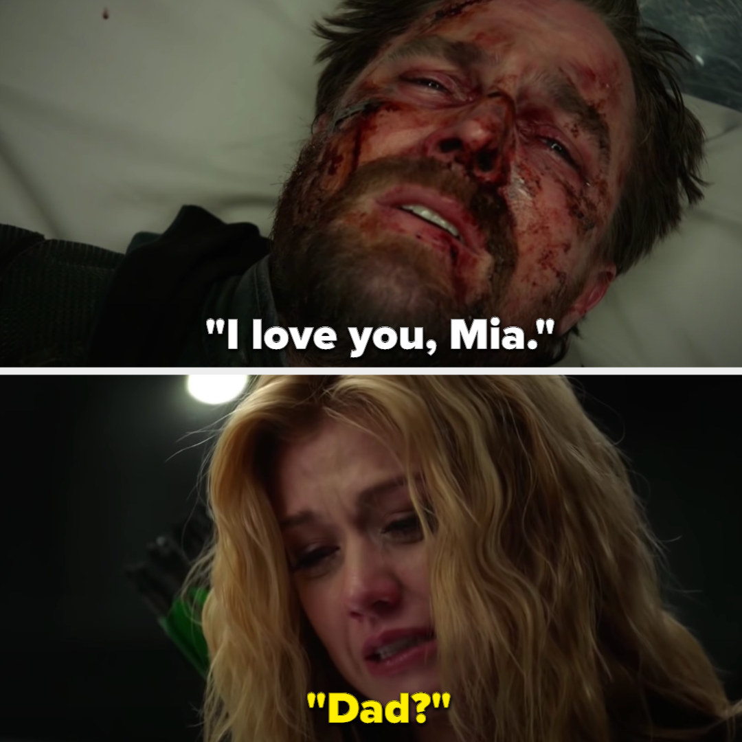 """Oliver tells Mia he loves her and Mia asks """"Dad?"""" as he's dying"""
