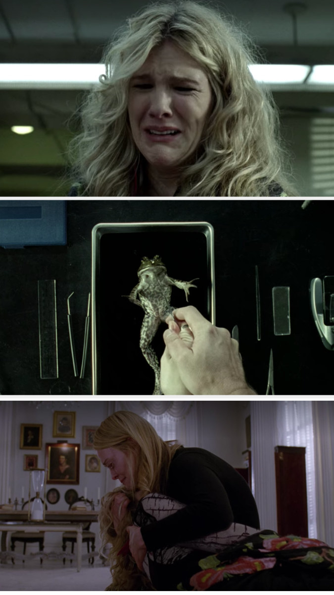 Cordelia holds Misty as she's stuck in her own personal hell being forced to dissect a frog