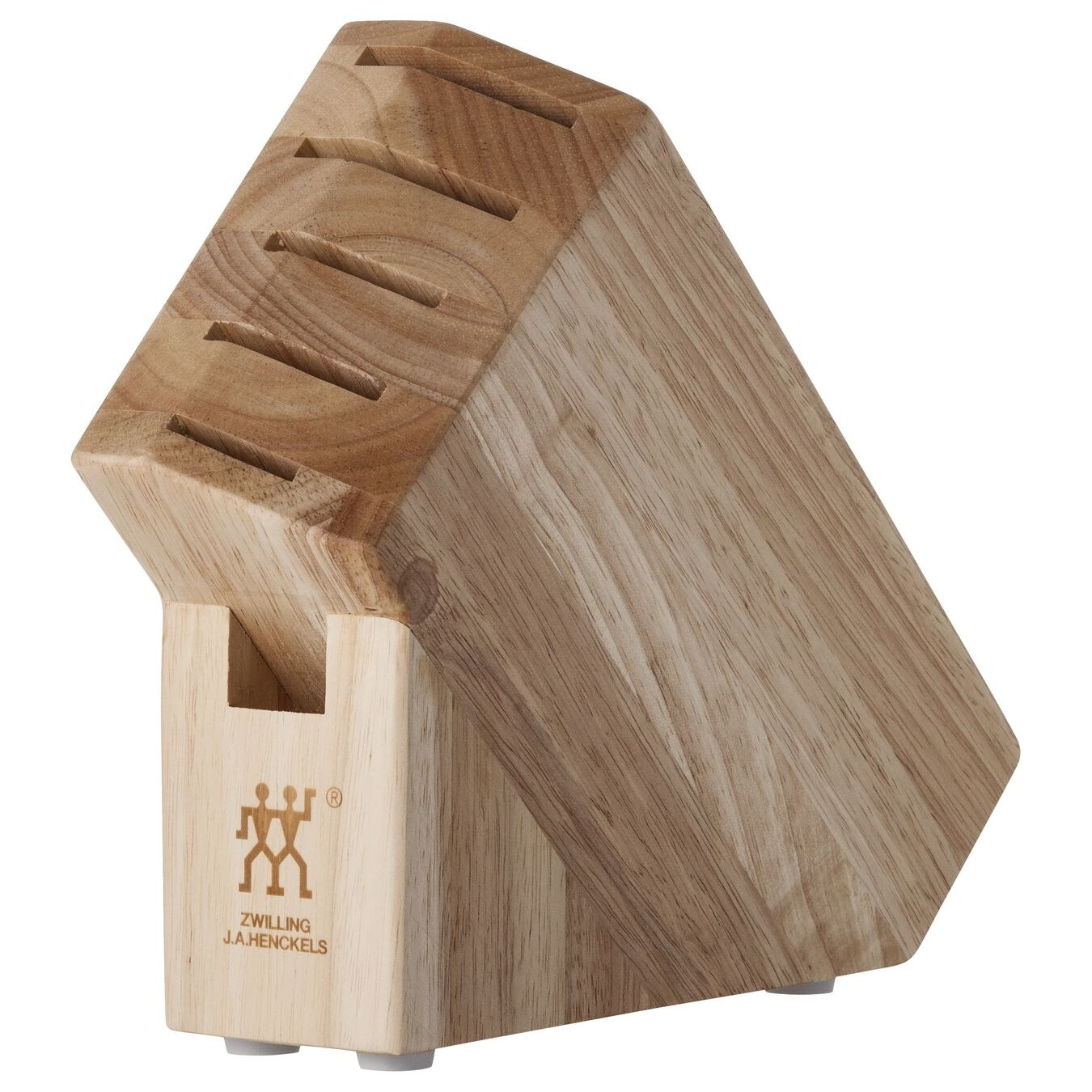 the wooden knife block with six slots for knives