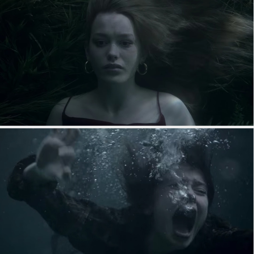 Jamie screams as she swims down and sees Dani dead in the bottom of the lake