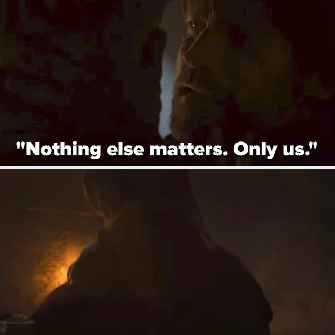 Jaime tells Cersei nothing else matters then holds her as the tunnel caves in