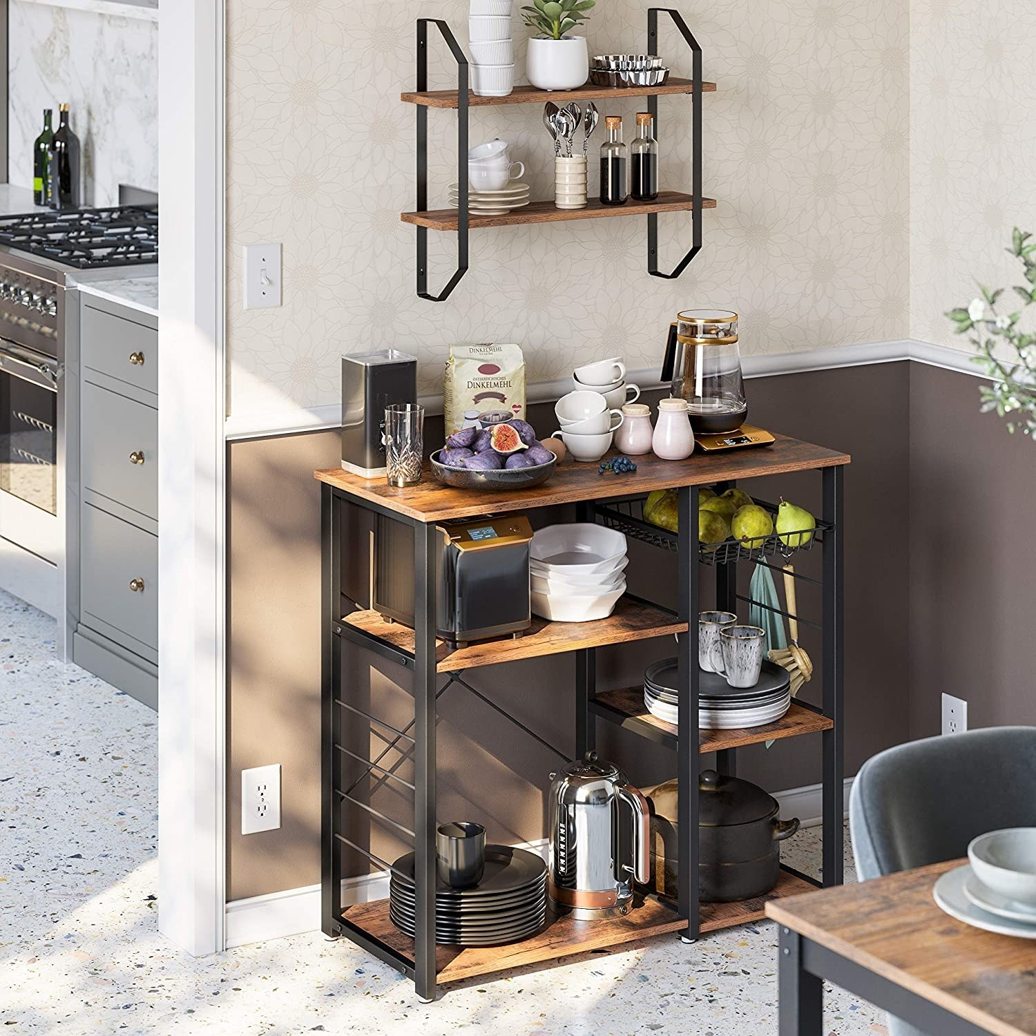 the kitchen rack with appliances and food on it