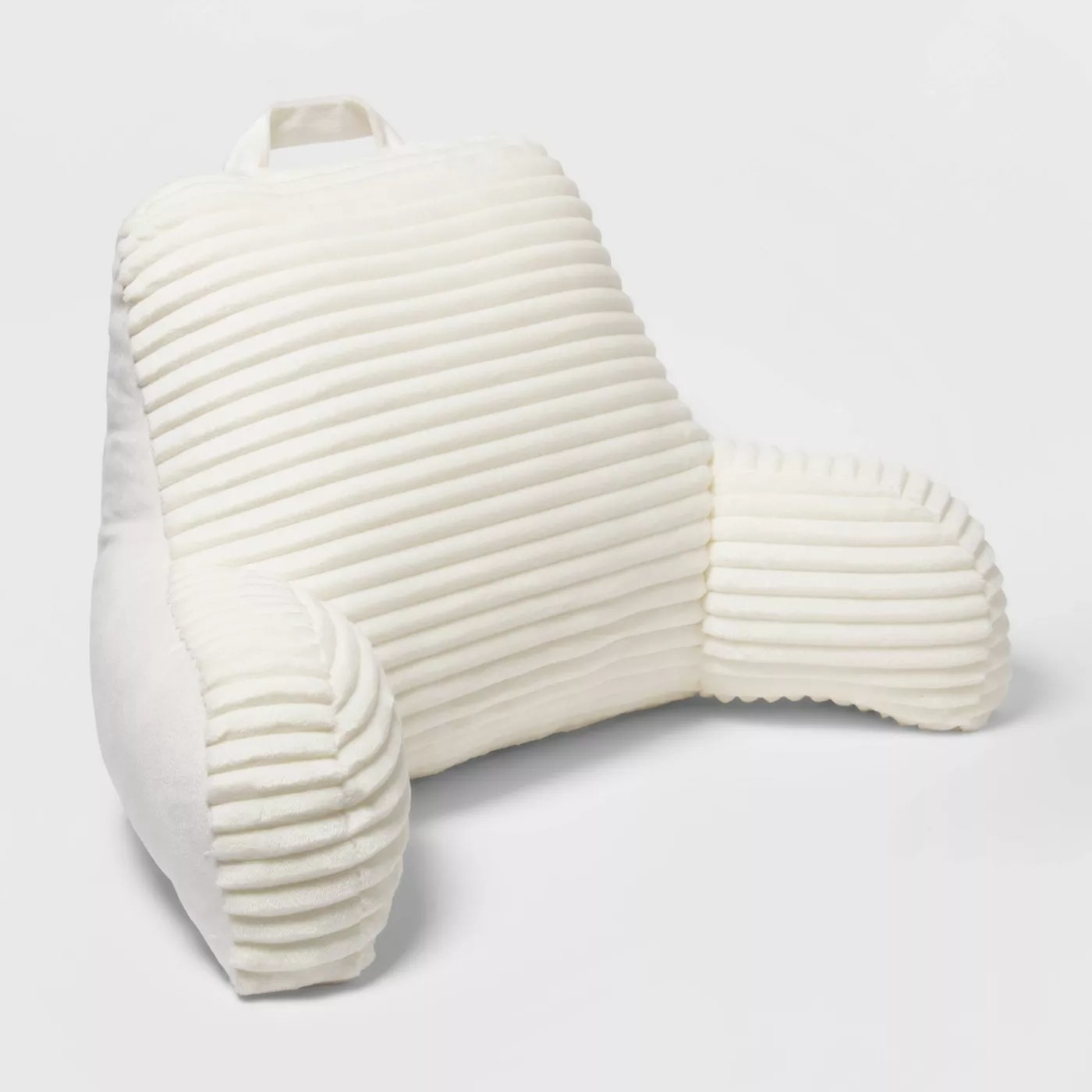 The ivory backrest pillow with a ribbed texture