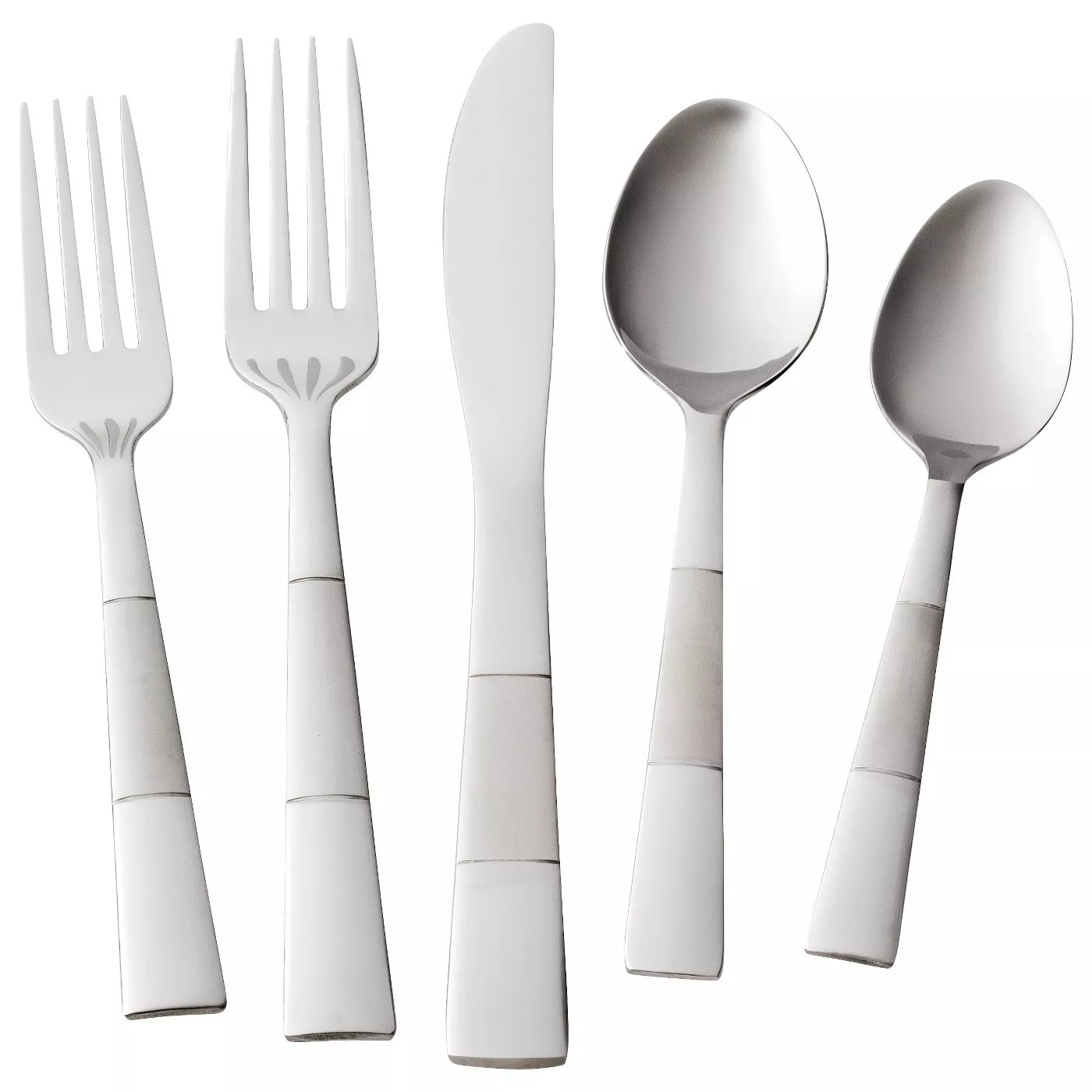 A silverware setting with a salad fork, dinner fork, knife, tablespoon and teaspoon
