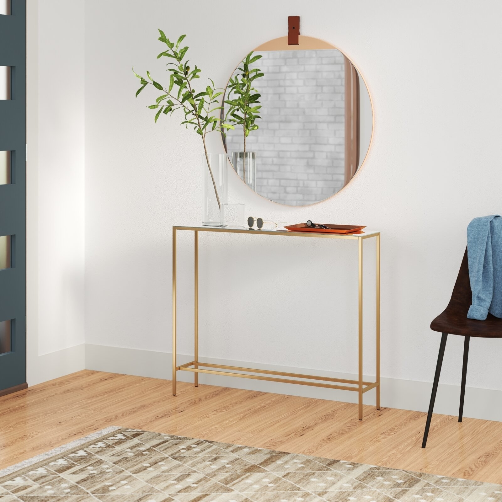 the narrow console table with a metal frame