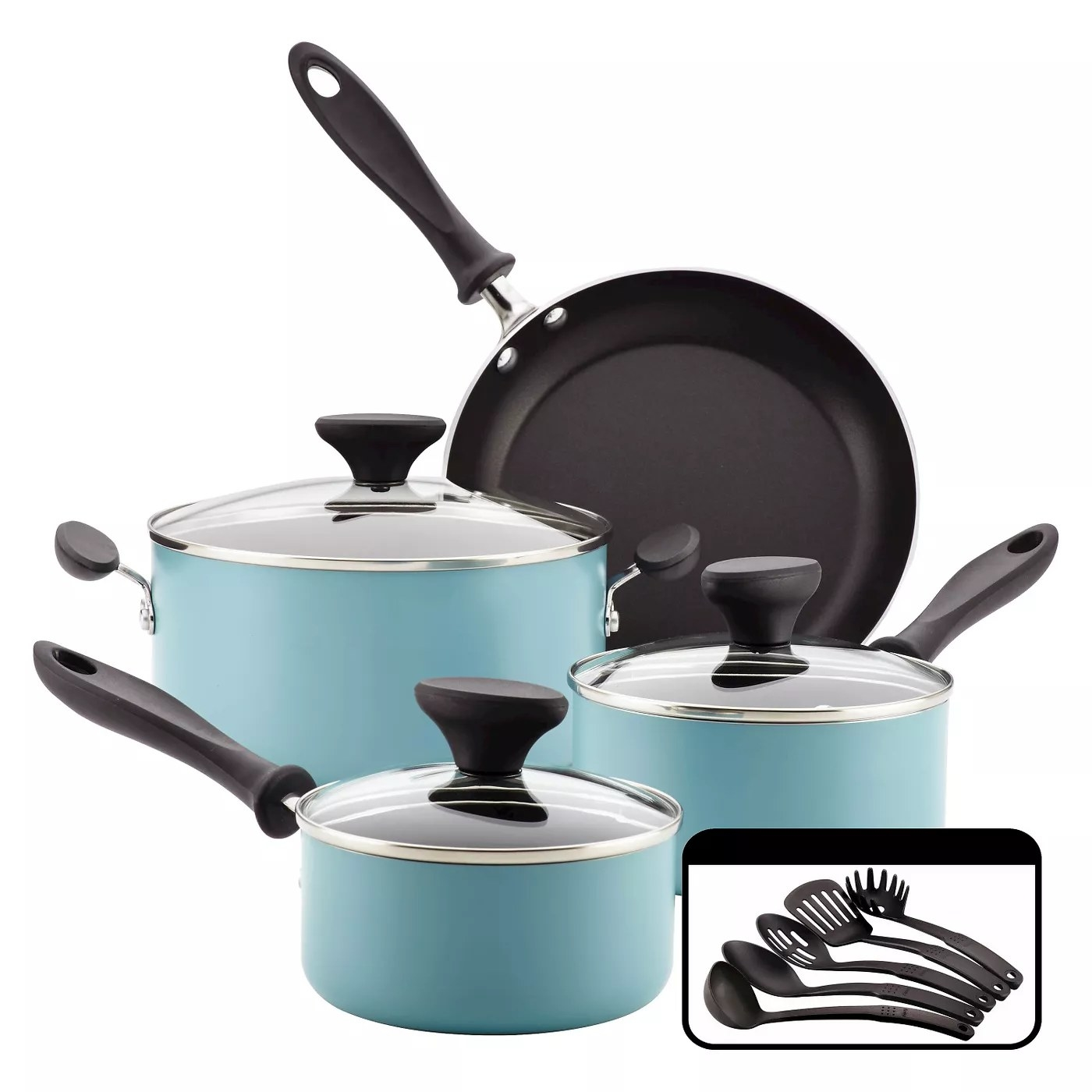 The cookware set in light blue