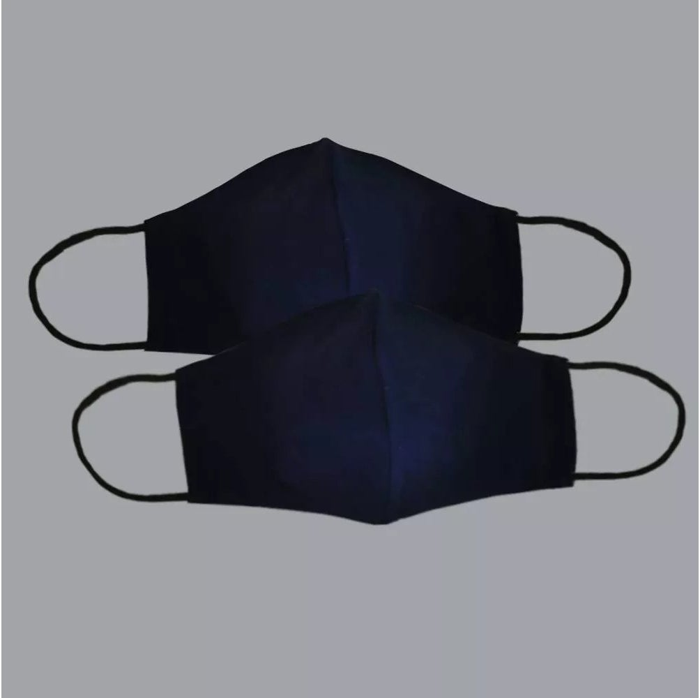 The pair of navy blue face masks with adjustable ear loops