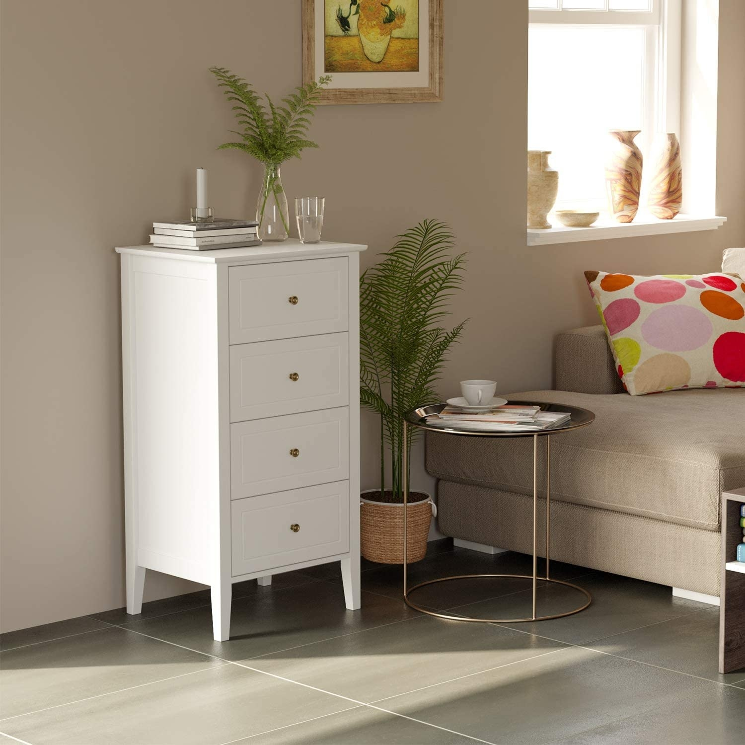 the white dresser in a bedroom