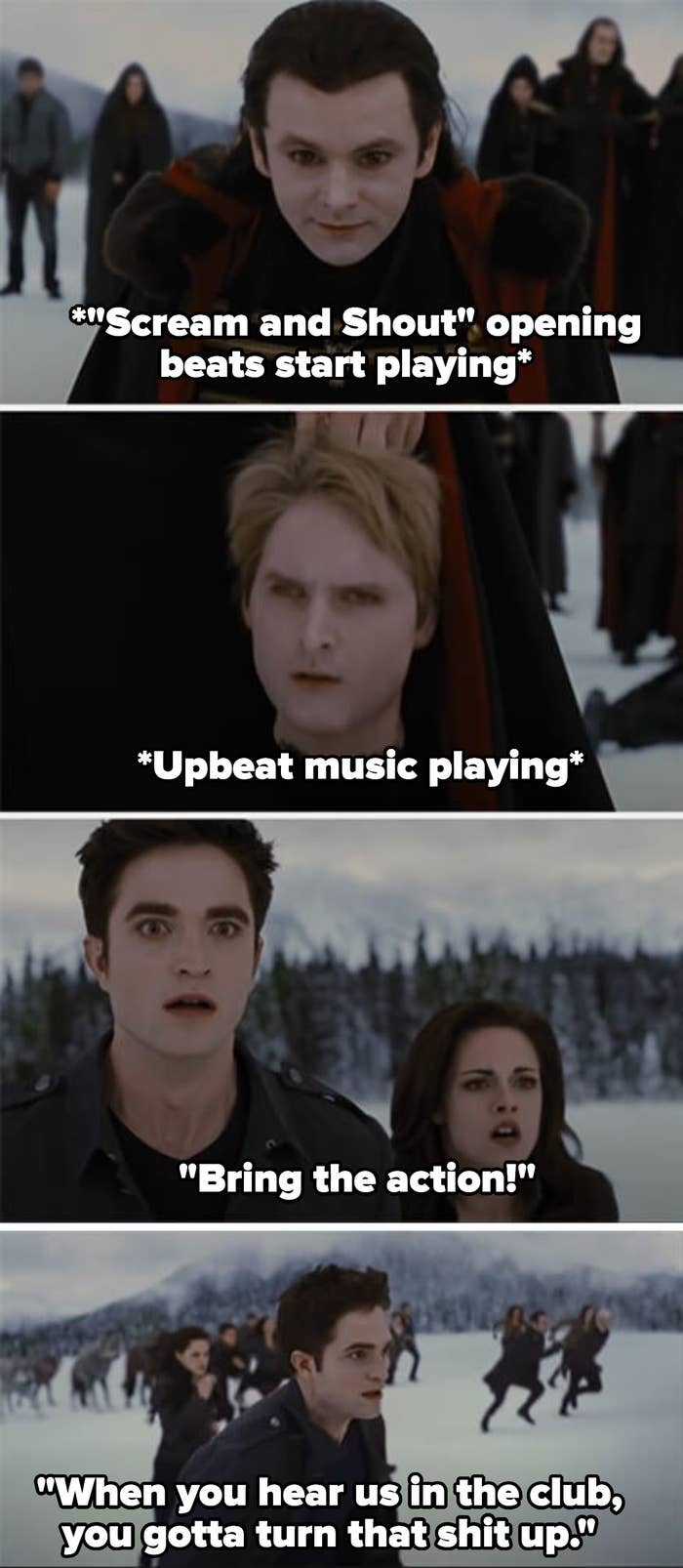 """As the Cullens see Carlisle's dismembered head, they look shocked and run to attack, as the song says """"Bring the action! When you hear us in the club, you gotta turn that shit up"""""""