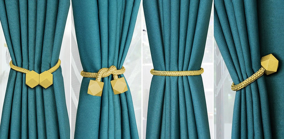 The curtain ties being used in four different ways