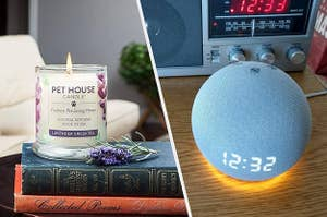 to the left: a pet house candle, to the right: an amazon echo alarm clock