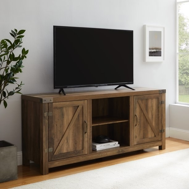 the entertainment stand in oak