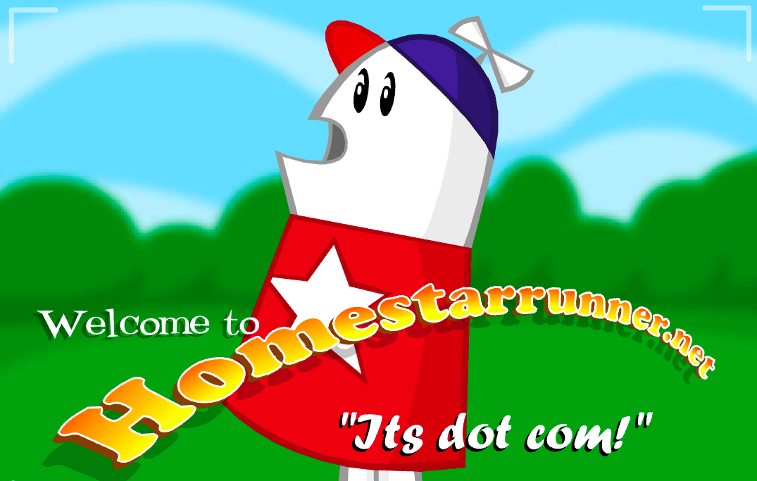 A cartoon shaped like a marshmallow welcoming people to the Homestar Runner site