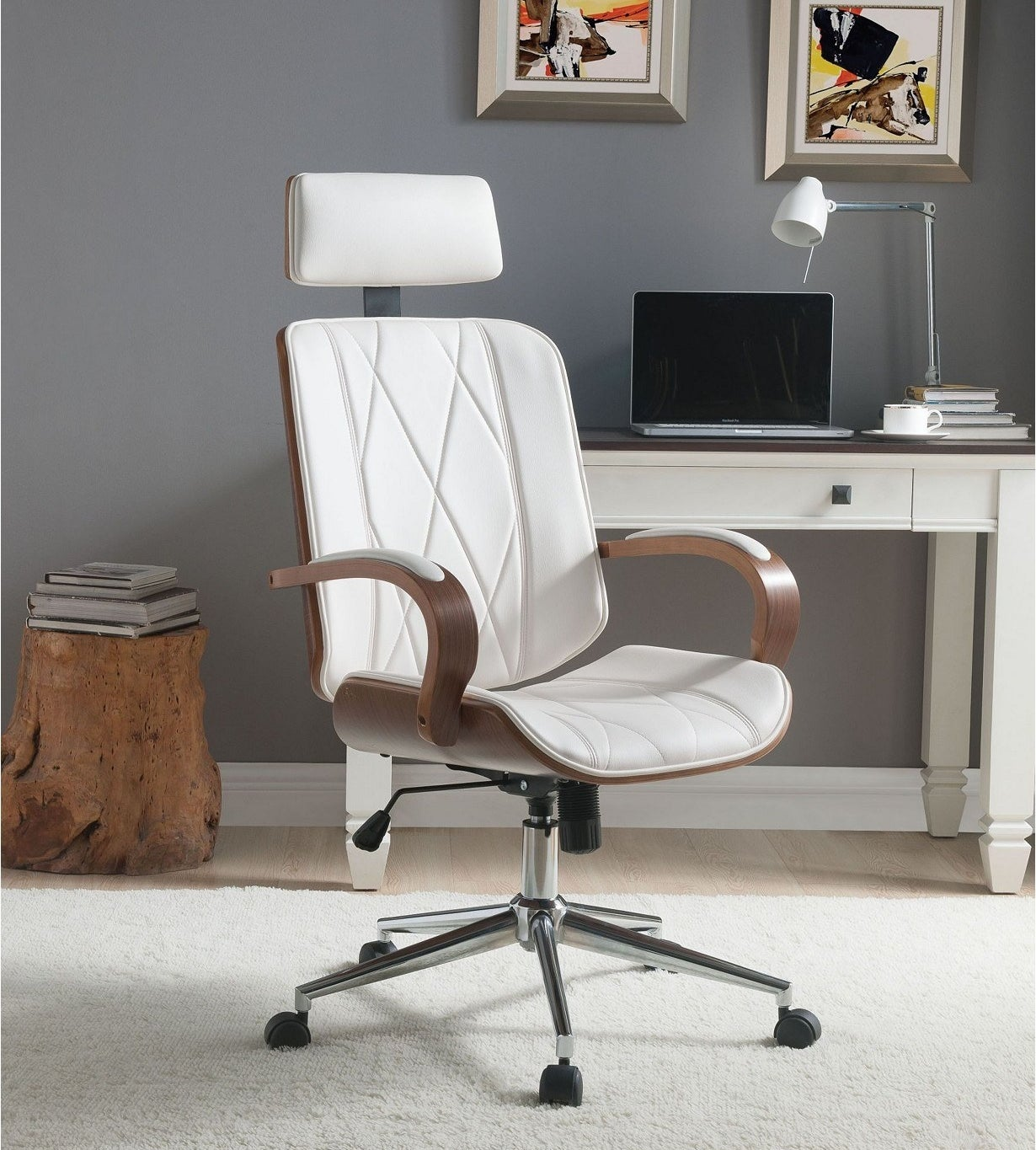 the white office chair which has five wheels