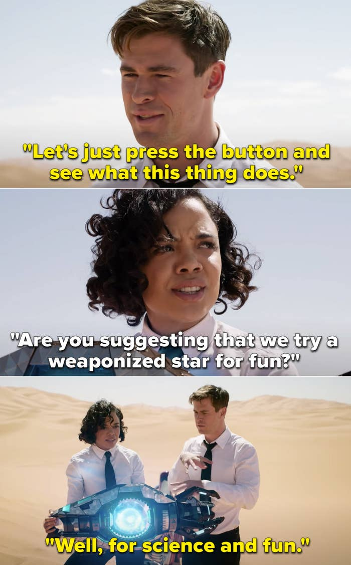 """Agent H suggesting that they press a button and see what happens and Agent M saying, """"Are you suggesting that we try a weaponized star for fun?"""""""