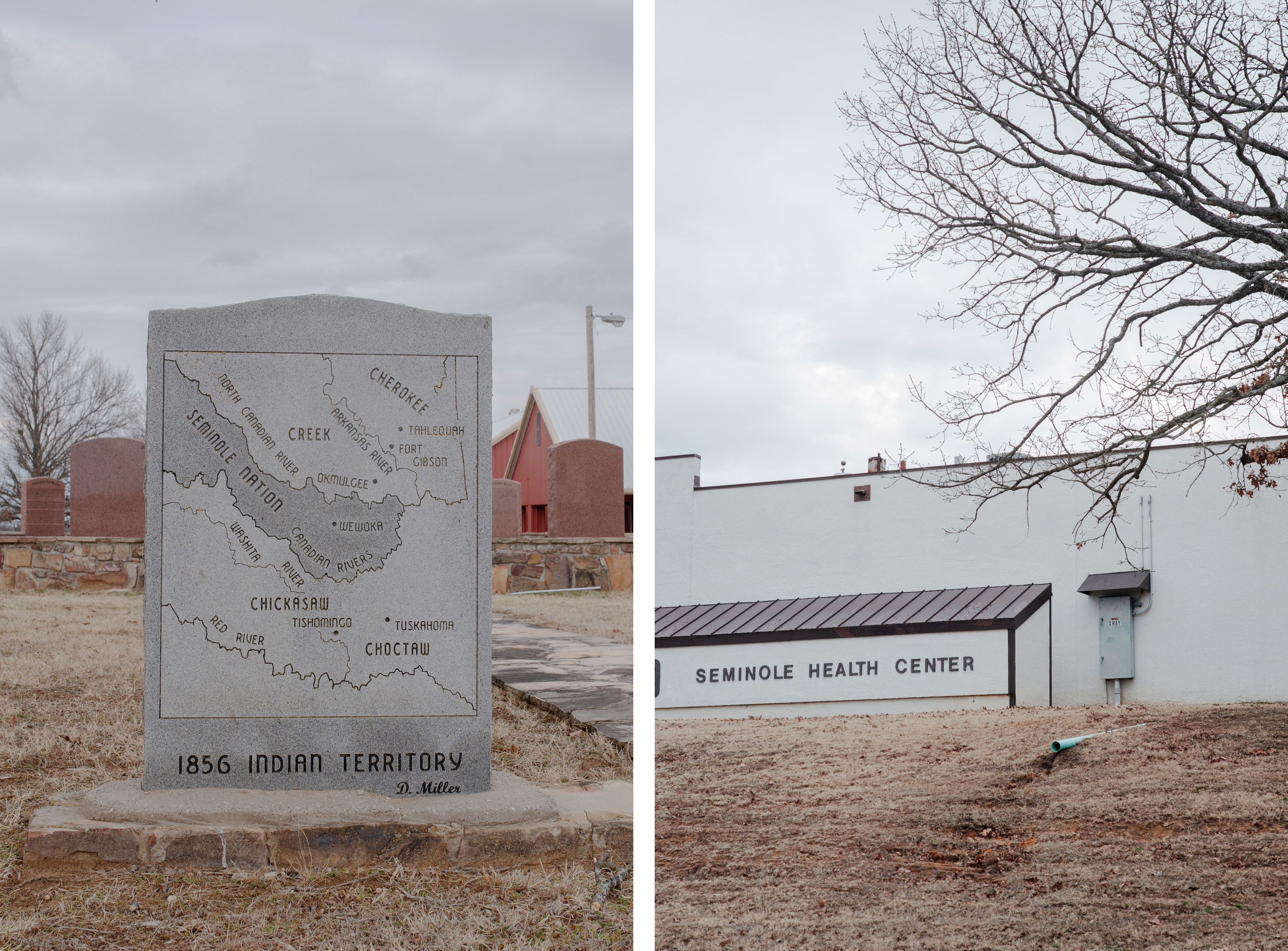 "On the left: A monument reads ""1856 Indian Territory"" and shows how the region was divided among Native tribes. On the right: A building reads ""Seminole Health Center"""