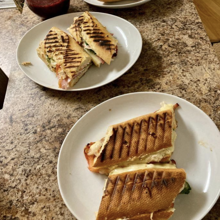 reviewer image of sandwiches after using panini press