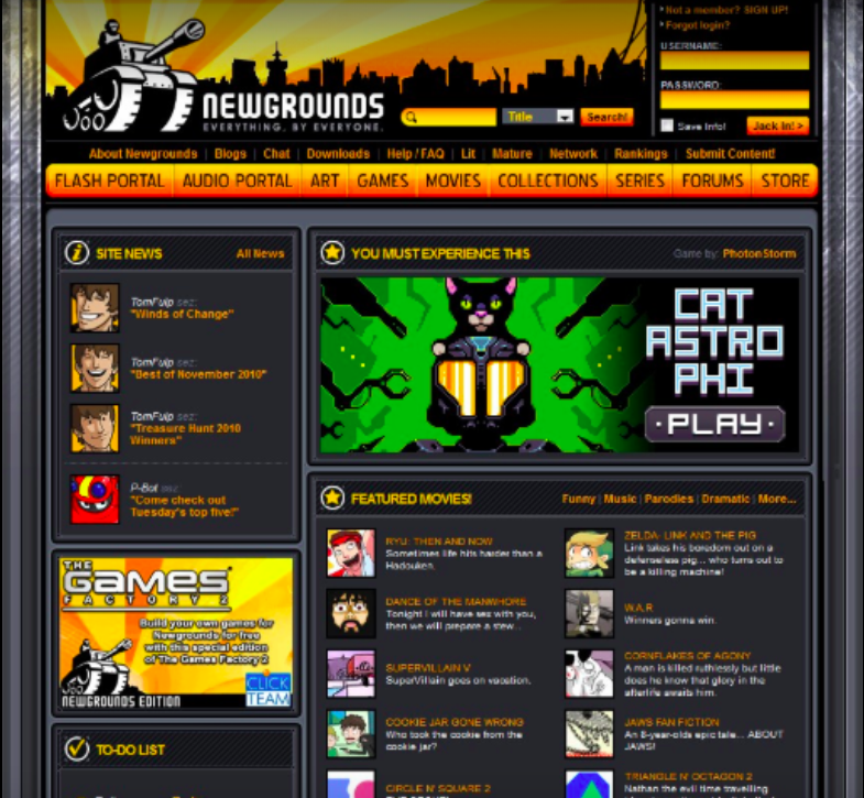 Industrial feeling homepage from the early '00s