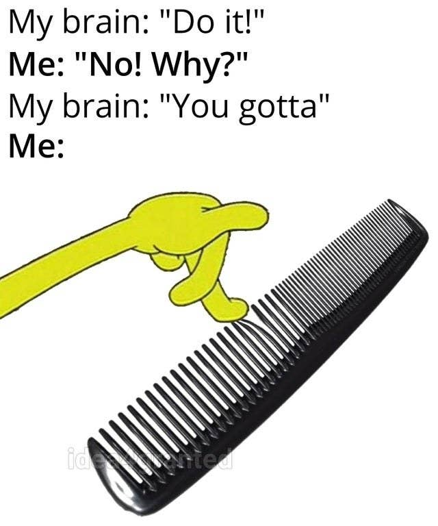 person rubbing their hand on a comb