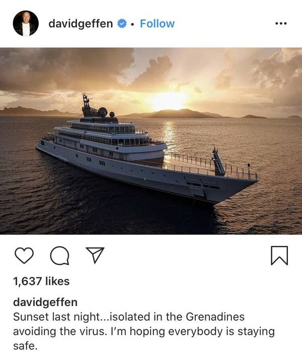 """David tweeted, """"Sunset last night...isolated in the Grenadines avoiding the virus. I'm hoping everybody is staying safe"""""""