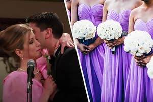 Rachel and Ross are in wedding gear, hugging each other with a bridal party on the right
