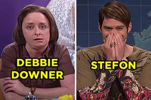"""On the left, Rachel Dratch as Debbie Downer on """"SNL,"""" and on the right, Bill Hader as Stefon on """"SNL"""""""