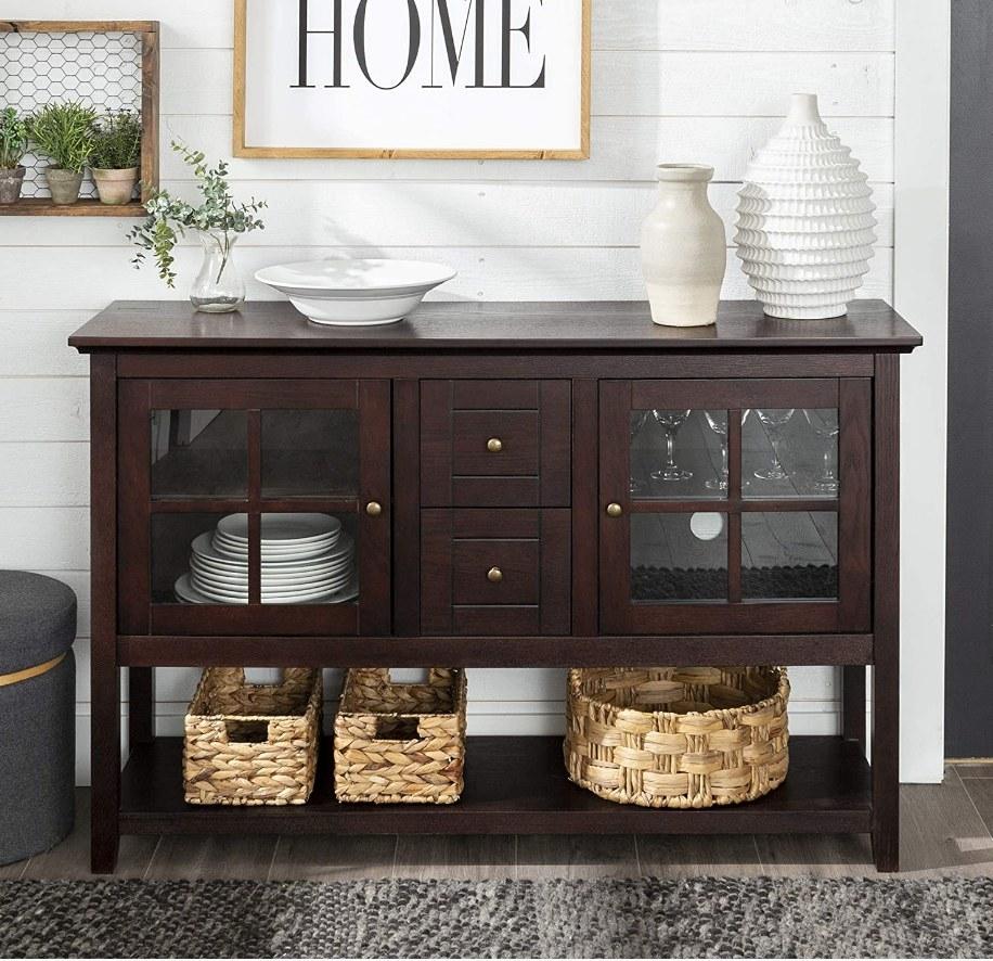 Dark wood buffet cabinet