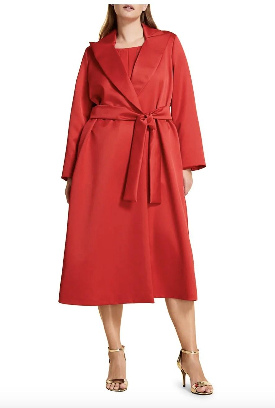 the coat on a model