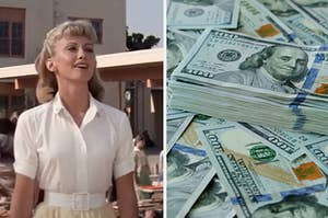 "Sandy from ""Grease"" is on the left with a pile of money on the right"