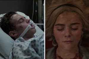 Justin in the hospital in the 13 Reasons Why finale and Sabrina dead in the Chilling Adventures of Sabrina finale