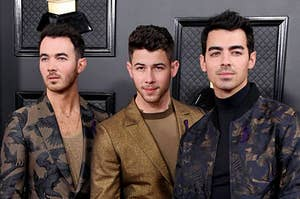 Kevin, Nick, and Joe at the grammy's