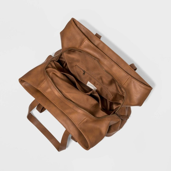 triple compartment tote bag open and shot from the top