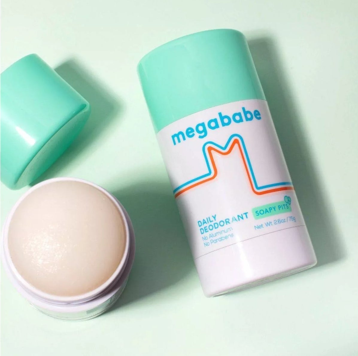 The round deodorant stick with a green cap