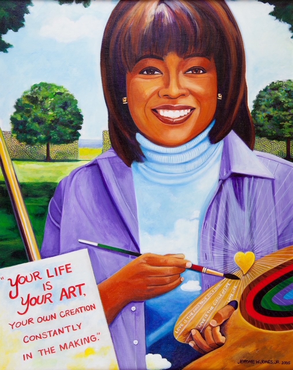Painting of Oprah smiling and painting