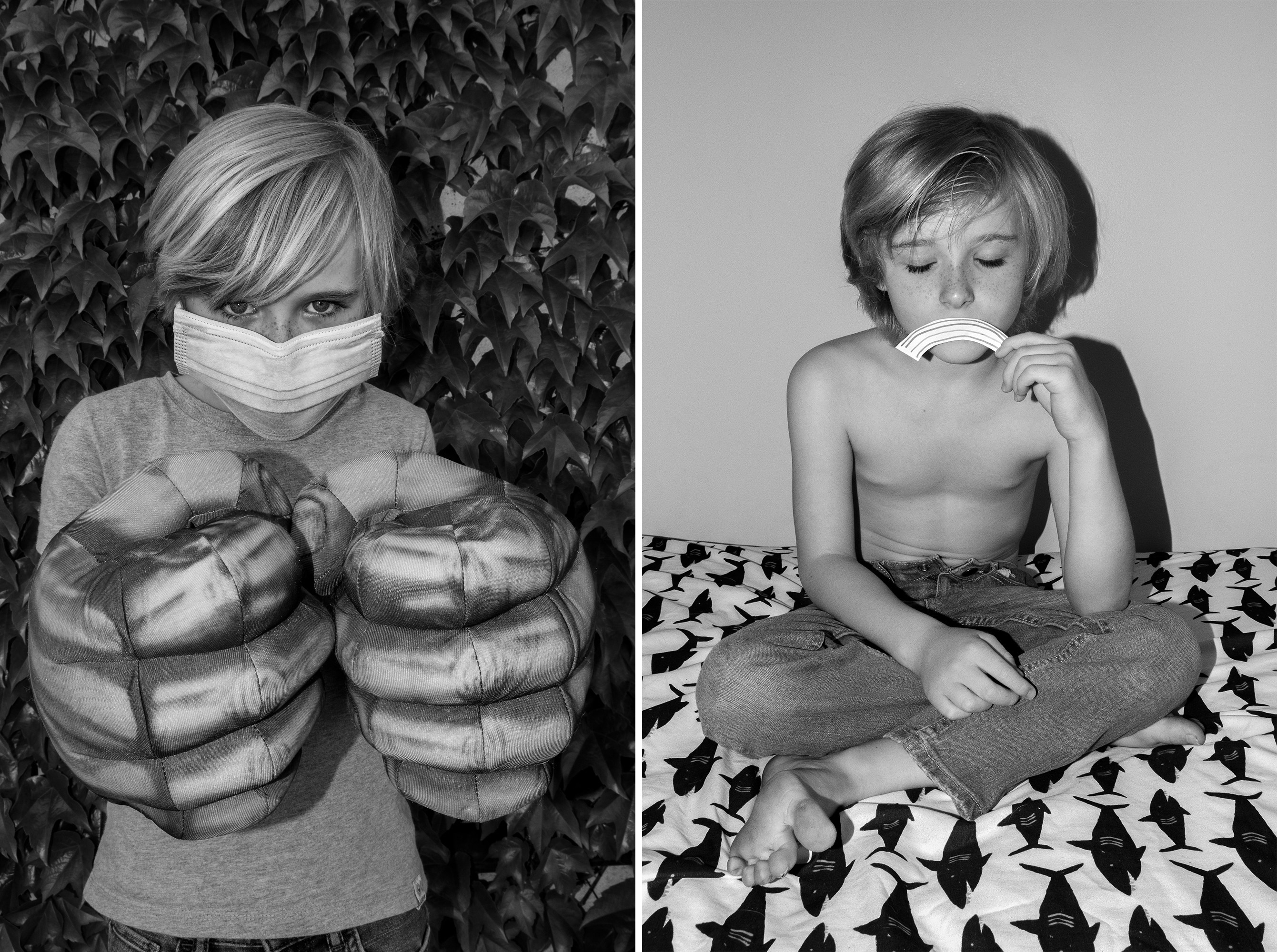 Two portraits of a child: on the left, he wears a paper face mask and holds Hulk hands; on the right, he holds a cutout rainbow to his face like a frown