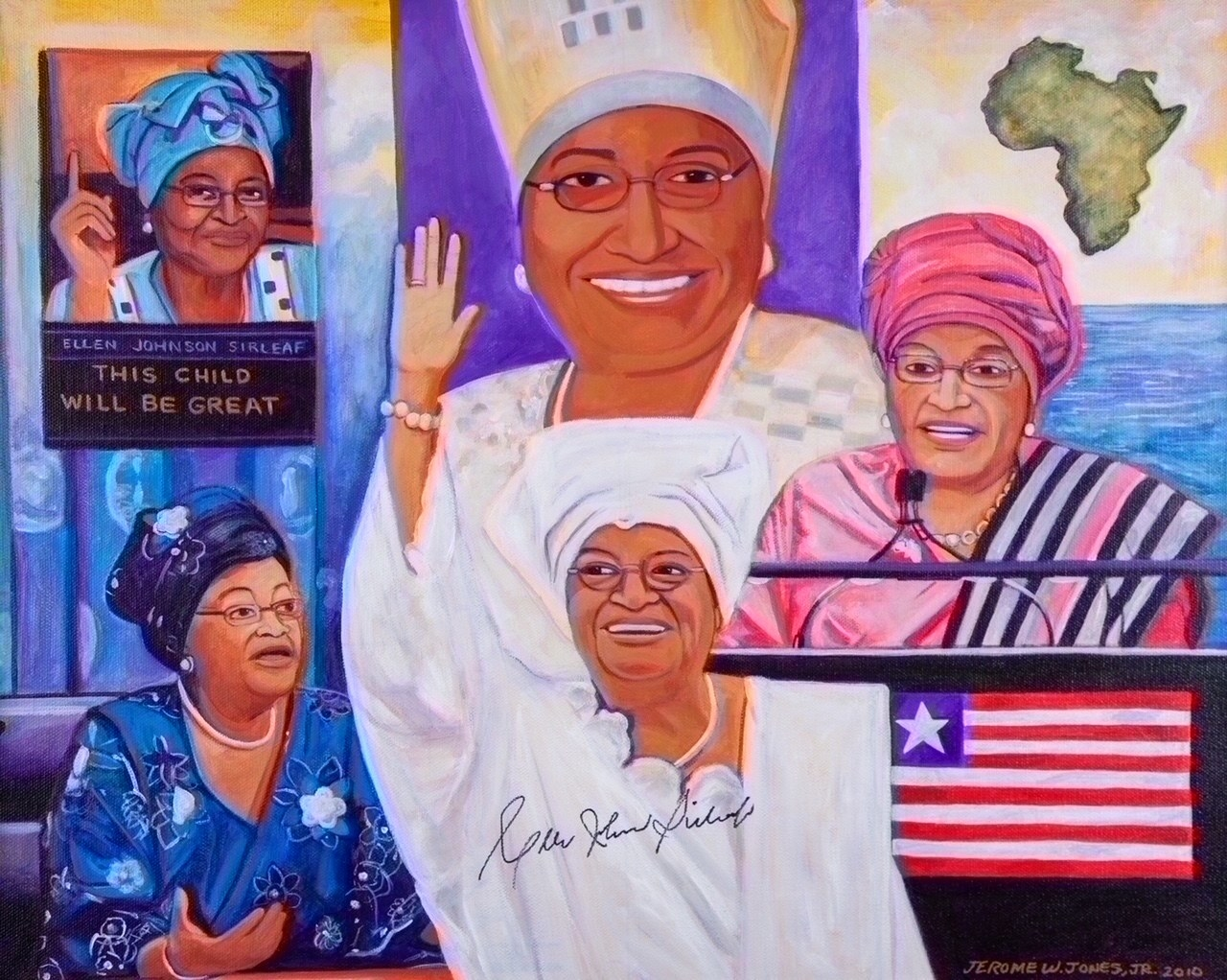 Painting of Ellen Johnson Sirleaf, the former president of Liberia, in different outfits