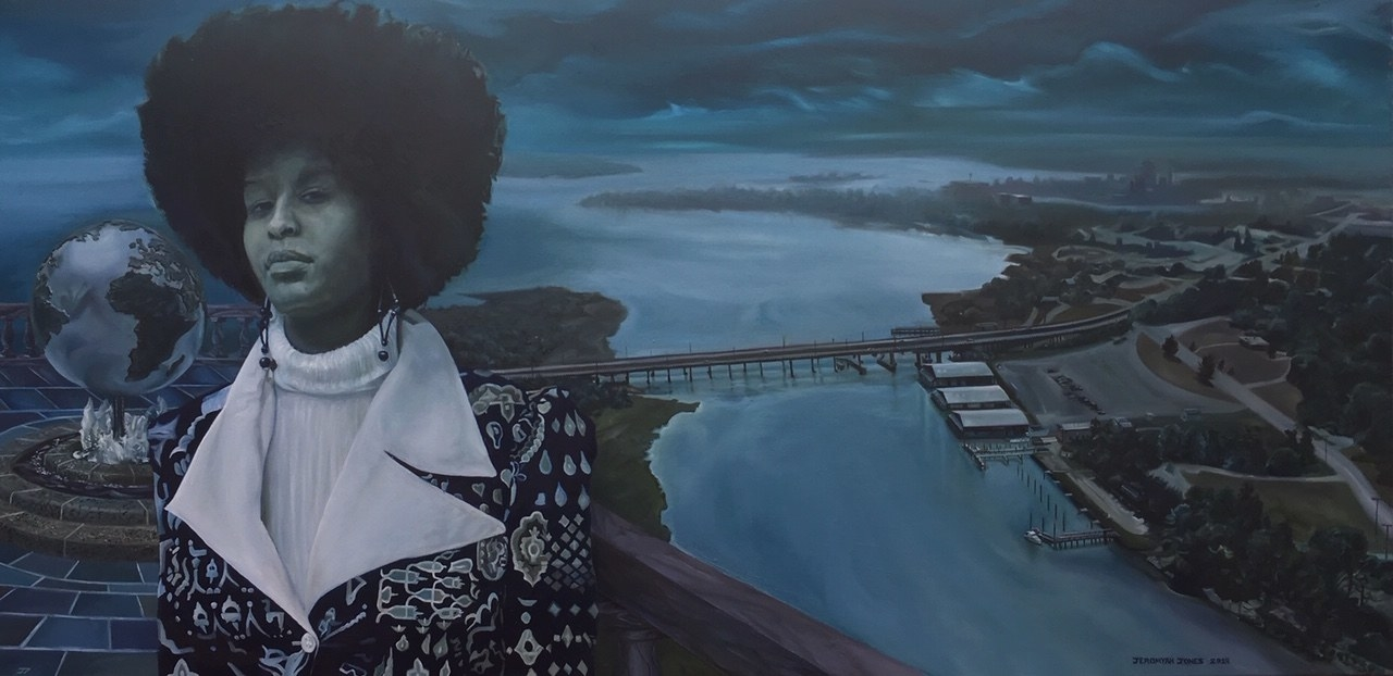 Painting of a woman standing with a scene behind her including a bridge over water