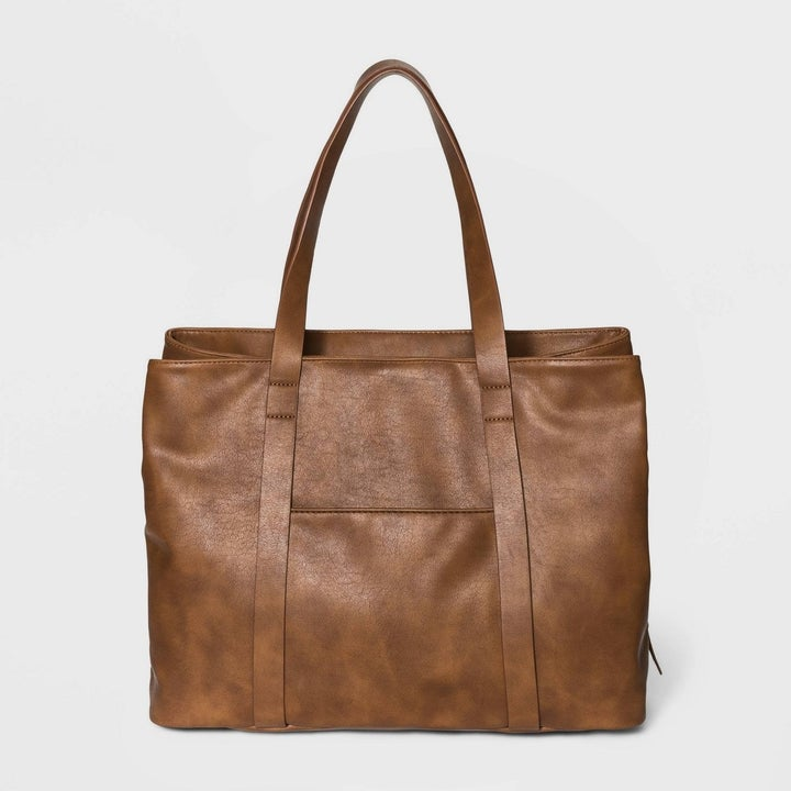 cognac tote bag shot from the front