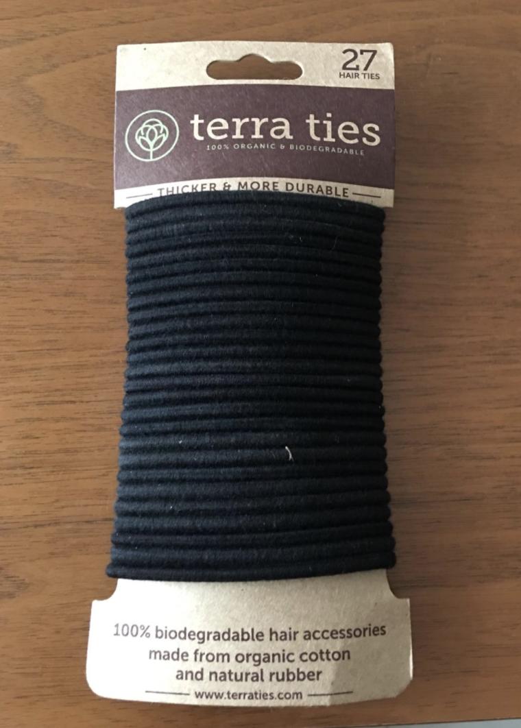 The hair ties in their packaging