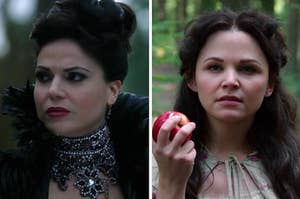 "Ginnifer Goodwin as Snow White / Mary Margaret Blanchard and Lana Parrilla as the Evil Queen / Regina Mills in the show ""Once Upon a Time."""