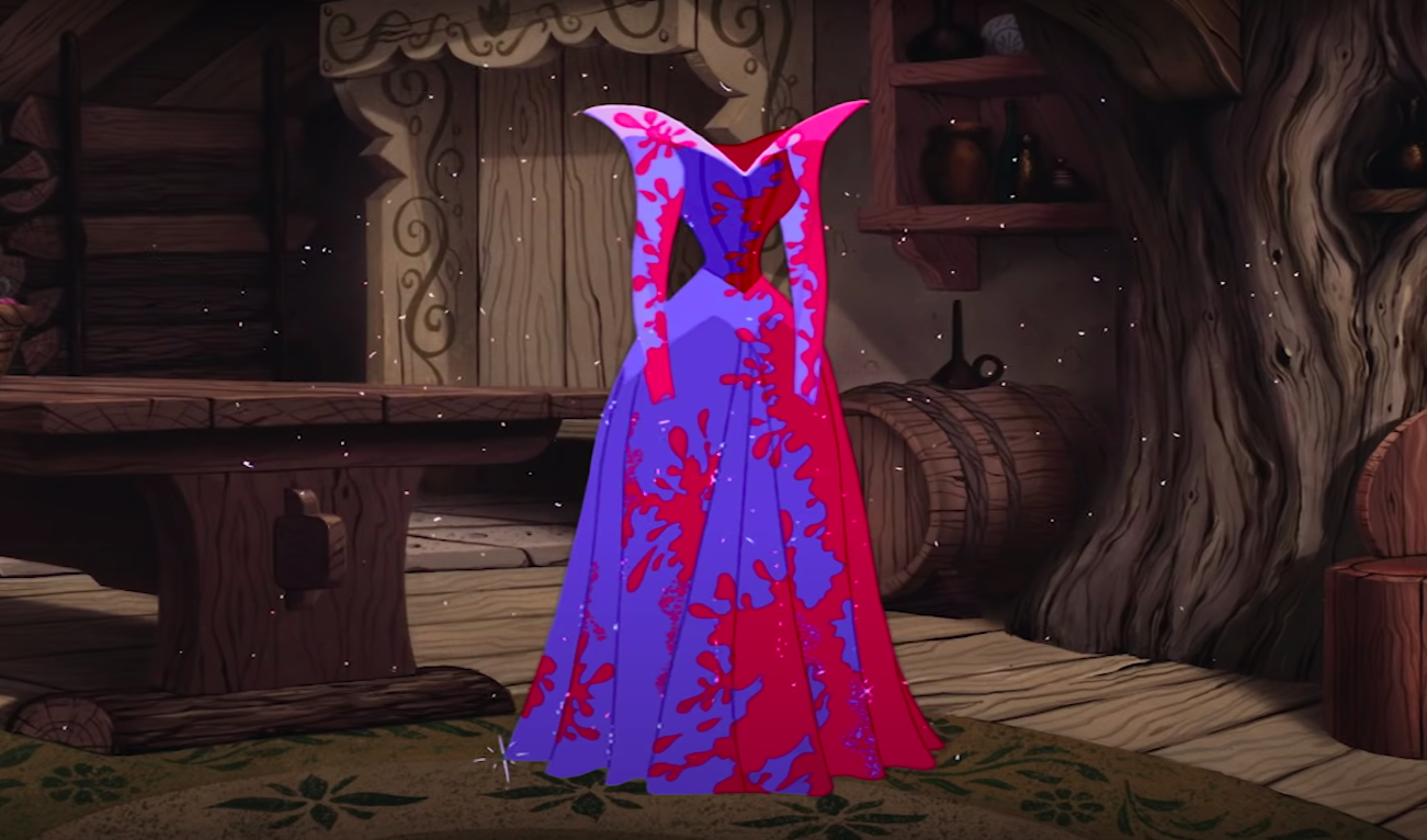 Aurora's dress as a mix of colors