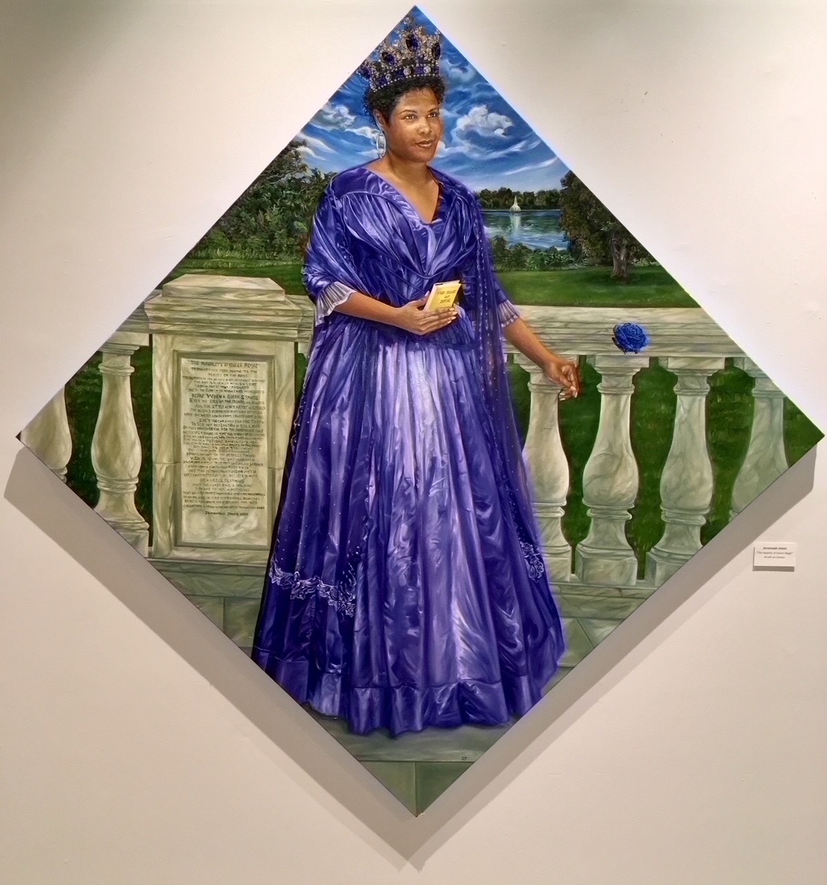 Painting of a woman wearing a crown and a regal dress