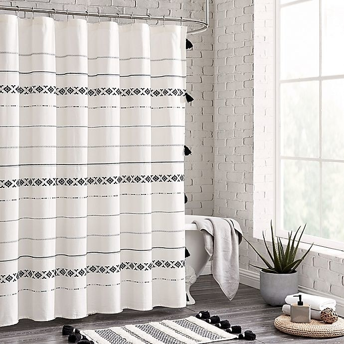 the black and white geometric shower curtain