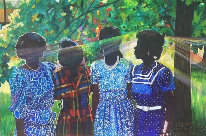 Painting of four women in dresses standing together underneath a tree