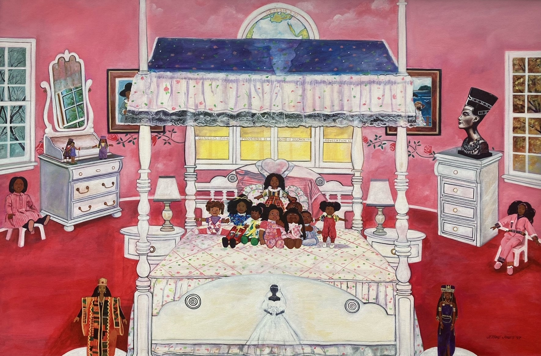 Painting of a girl's bedroom and a bed with Black dolls on top