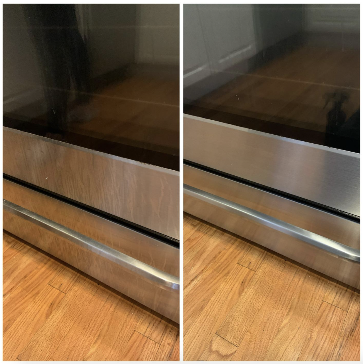 A customer review photo showing before and after using the polish on their oven