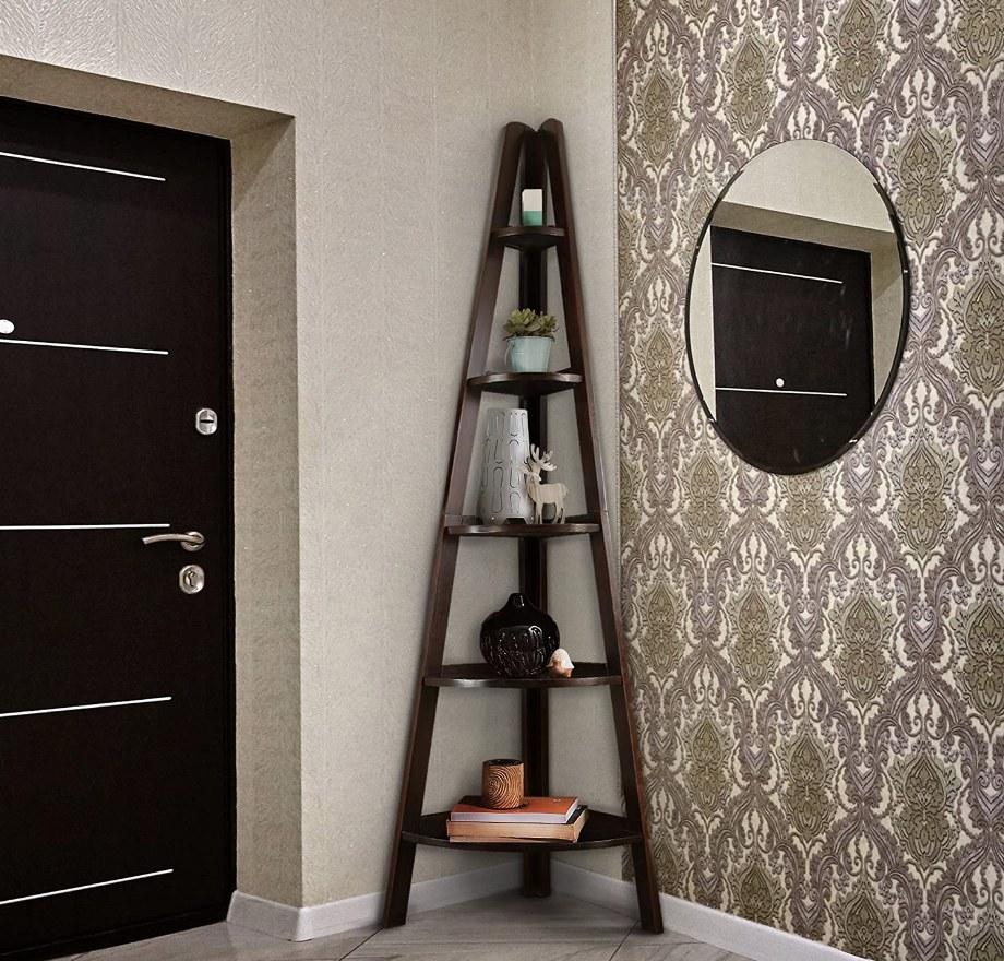 Dark wood cascading corner shelf
