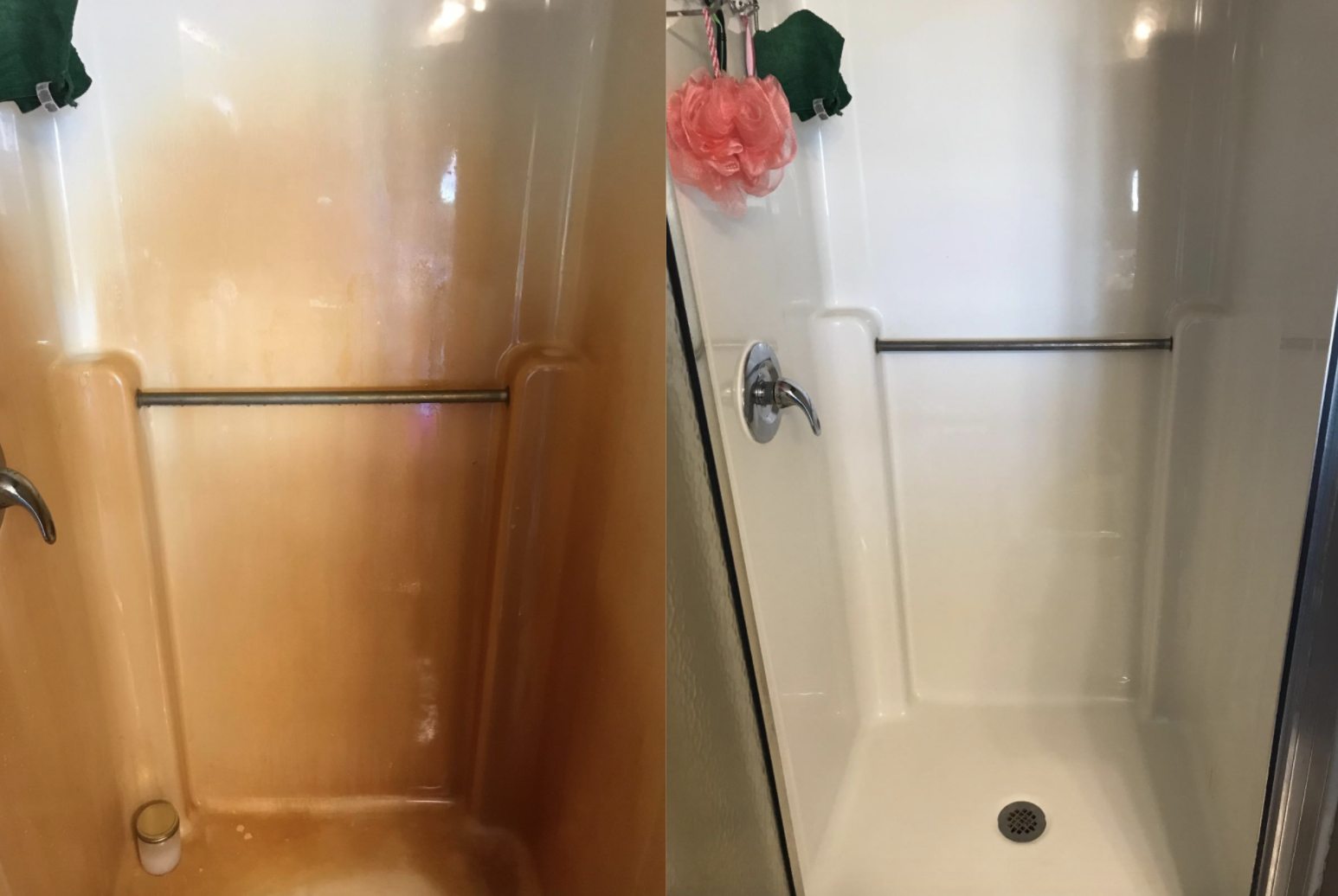 A customer review photo showing the results of the rust remover on their shower