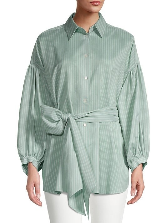 Model wearing the silk tie blouse